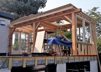 Constructie overkapping balkon